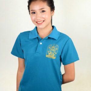 เสื้อโปโลหญิงสีฟ้า พิมพ์ลายสีทอง