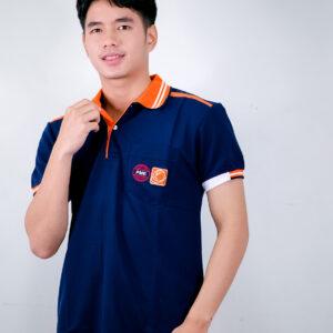 เสื้อโปโล สีกรม + ขอบสีส้ม
