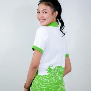เสื้อโปโล สีขาว ลายเขียวออน สกรีน การไฟฟ้าส่วนภูมิภาค PEA