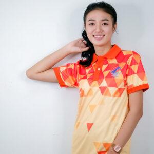 เสื้อโปโล สีส้ม + สกีน สีส้มออน