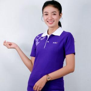 เสื้อโปโล สีม้วง สกรีน ธนาคารไทยพาณิชย์ (SCB)