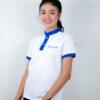 เสื้อโปโล สีขาว + สีฟ้า