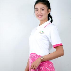 เสื้อโปโล สีขาว + สกรีนลายสีชมพู่