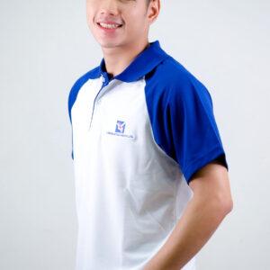 เสื้อโปโล ขาว + ขอบสีน้ำเงิน