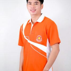 เสื้อโปโล สีส้ม ขอบสีขาว
