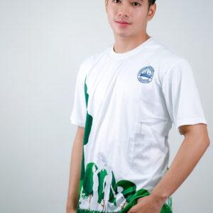 เสื้อคอกลม สีขาว สกรีนลาย สีเขียว