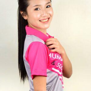 เสื้อโปโลหญิง สีเทา แทบสีชมพู