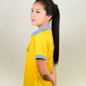 เสื้อโปโลหญิงสีเหลือง ปัก จะโจงจะทิงจงทิง