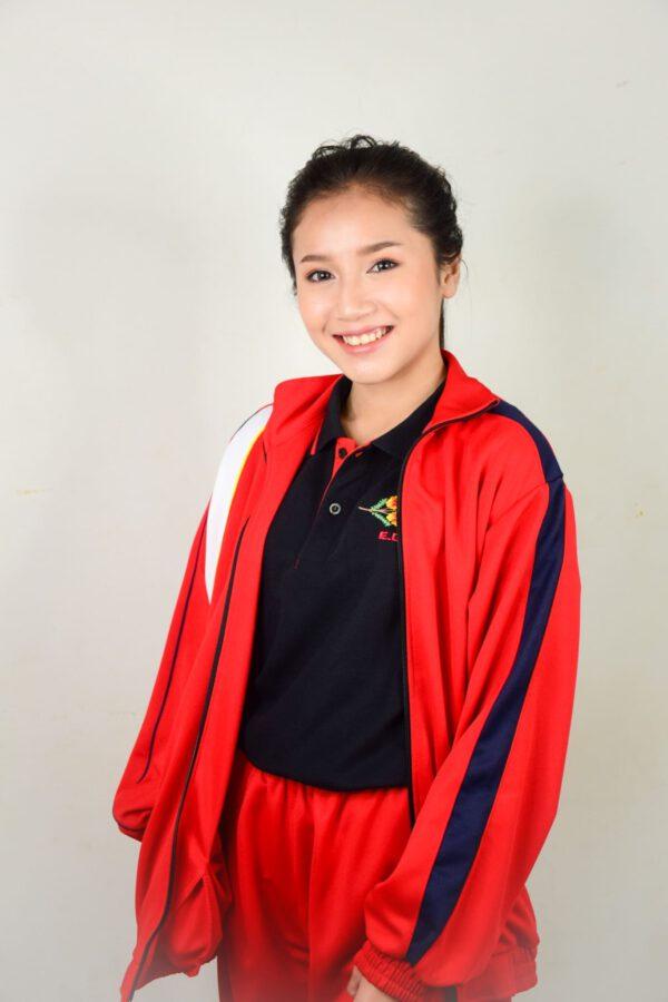 เสื้อโปโลกีฬา เสื้อเจ็คเก็ต สีแดง แถบดำ