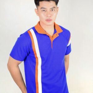 เสื้อโปโล สีน้ำเงิน ปกส้ม ลายขาว