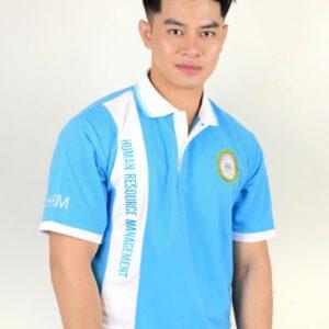 เสื้อโปโล สีฟ้า + พิมพ์ลาย HRm