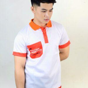 เสื้อโปโล สีขาว ปกส้ม