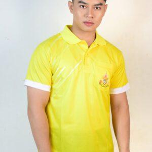 เสื้อโปโล สีเหลือง ขอบแขนสีขาว